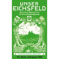 E-Book: Unser Eichsfeld, 21. Band,  Jahrgang 1926 - Reprint 2013