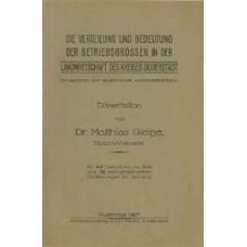 Die Verteilung und Bedeutung der Betriebsgrößen in der Landwirtschaft des Kreises Duderstadt im Rahmen der allgemeinen Agrarverhältnisse