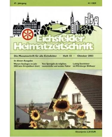 Eichsfelder Heimatzeitschrift, Heft 10, Oktober 2003