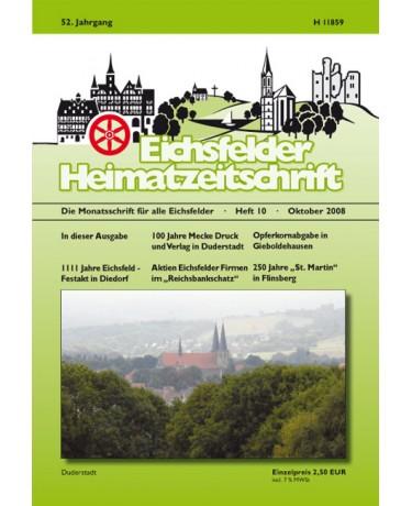 Eichsfelder Heimatzeitschrift, Heft 10, Oktober 2008