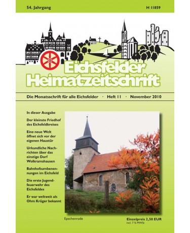 Eichsfelder Heimatzeitschrift, Heft 11, November 2010