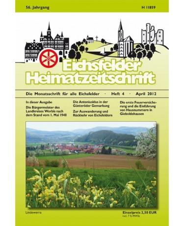 Eichsfelder Heimatzeitschrift, Heft 4, April 2012