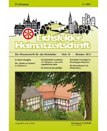 Eichsfelder Heimatzeitschrift, Heft 10, Oktober 2013
