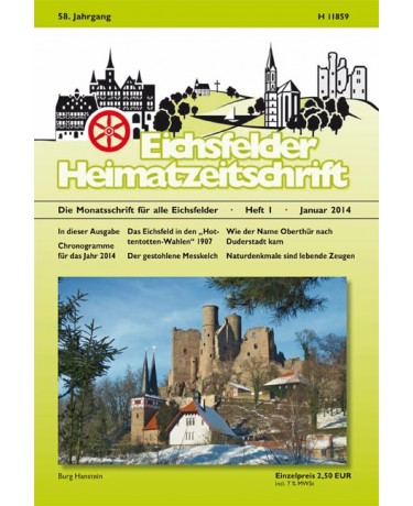 Eichsfelder Heimatzeitschrift, Heft 1, Januar 2014