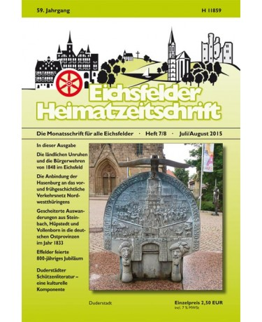 Eichsfelder Heimatzeitschrift, Heft 7/8, Juli/August 2015