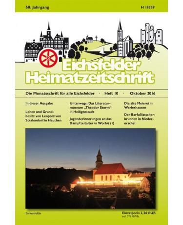 Eichsfelder Heimatzeitschrift, Heft 10, Oktober 2016
