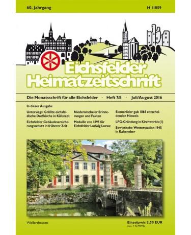 Eichsfelder Heimatzeitschrift, Heft 7/8, Juli/August 2016