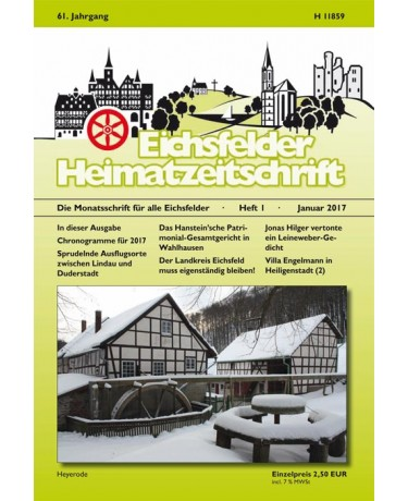 Eichsfelder Heimatzeitschrift, Heft 1, Januar 2017